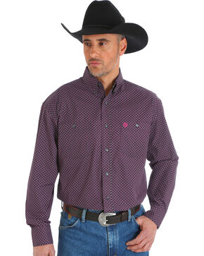 Wrangler George Strait Men's Printed Poplin Button Down Shirt - Big & Tall, Magenta, hi-res