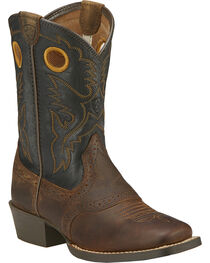 Ariat Kid's Square Toe Roughstock Western Boots, , hi-res