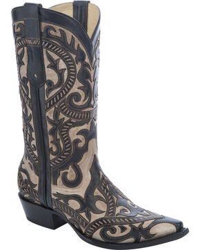 Corral Men's Overlay Snip Toe Western Boots, Black, hi-res