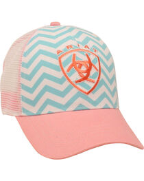 Ariat Women's Aqua and Pink Chevron Ballcap, , hi-res
