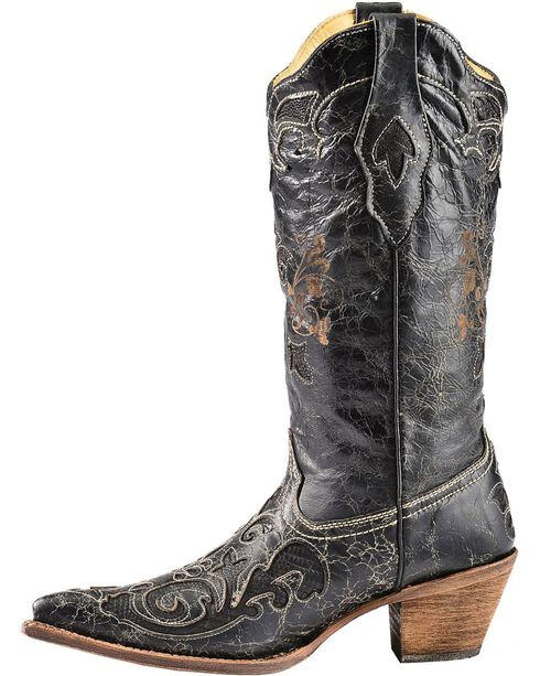 Corral Women's Vintage Lizard Overlay Western Boots, Black, hi-res