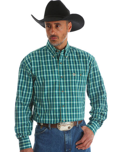 Wrangler Men's Green George Strait Button Down Plaid Shirt , Green, hi-res