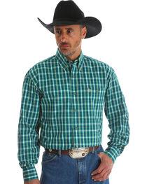 Wrangler Men's Green George Strait Button Down Plaid Shirt - Big & Tall , , hi-res