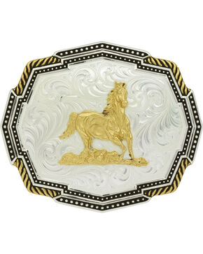 Montana Silversmiths Silver Polygon Running Horse Belt Buckle, Silver, hi-res