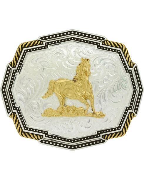 Montana Silversmiths Silver Polygon Running Horse Belt Buckle, Silver, hi-res
