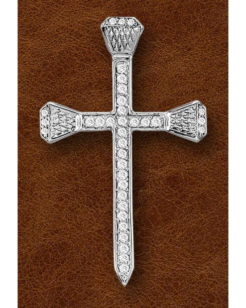 Kelly Herd Sterling Silver Rhinestone Nail Cross Pendant, Silver, hi-res