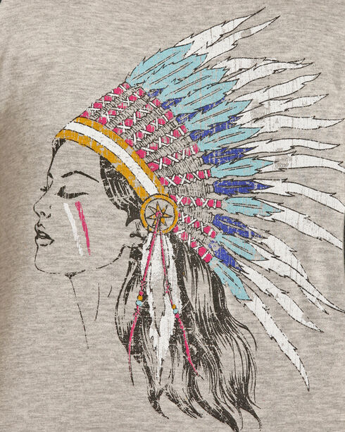 Rock & Roll Cowgirl Women's Grey Indian Headdress Baseball Tee , Grey, hi-res