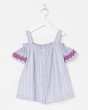 Miss Me Girls' Effortless Embroidered Top, Blue, hi-res