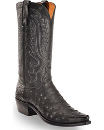 Lucchese Men's Luke Black Full Quill Ostrich Western Boots - Square Toe, , hi-res