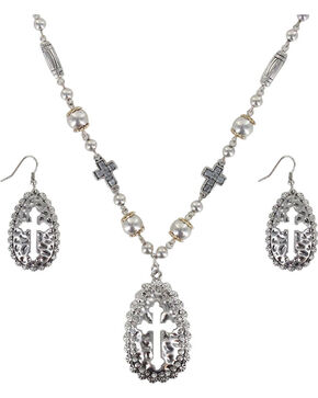 Shyanne® Women's Cut-out Cross Jewelry Set, Silver, hi-res