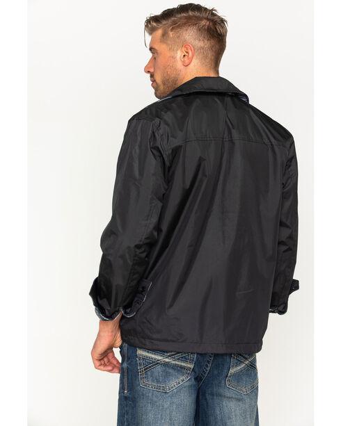 China Leather Men's Black Reversible Plaid Jacket , Black, hi-res