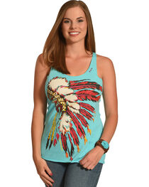 Bohemian Cowgirl Women's Turquoise Indian Spirit Tank Top , , hi-res
