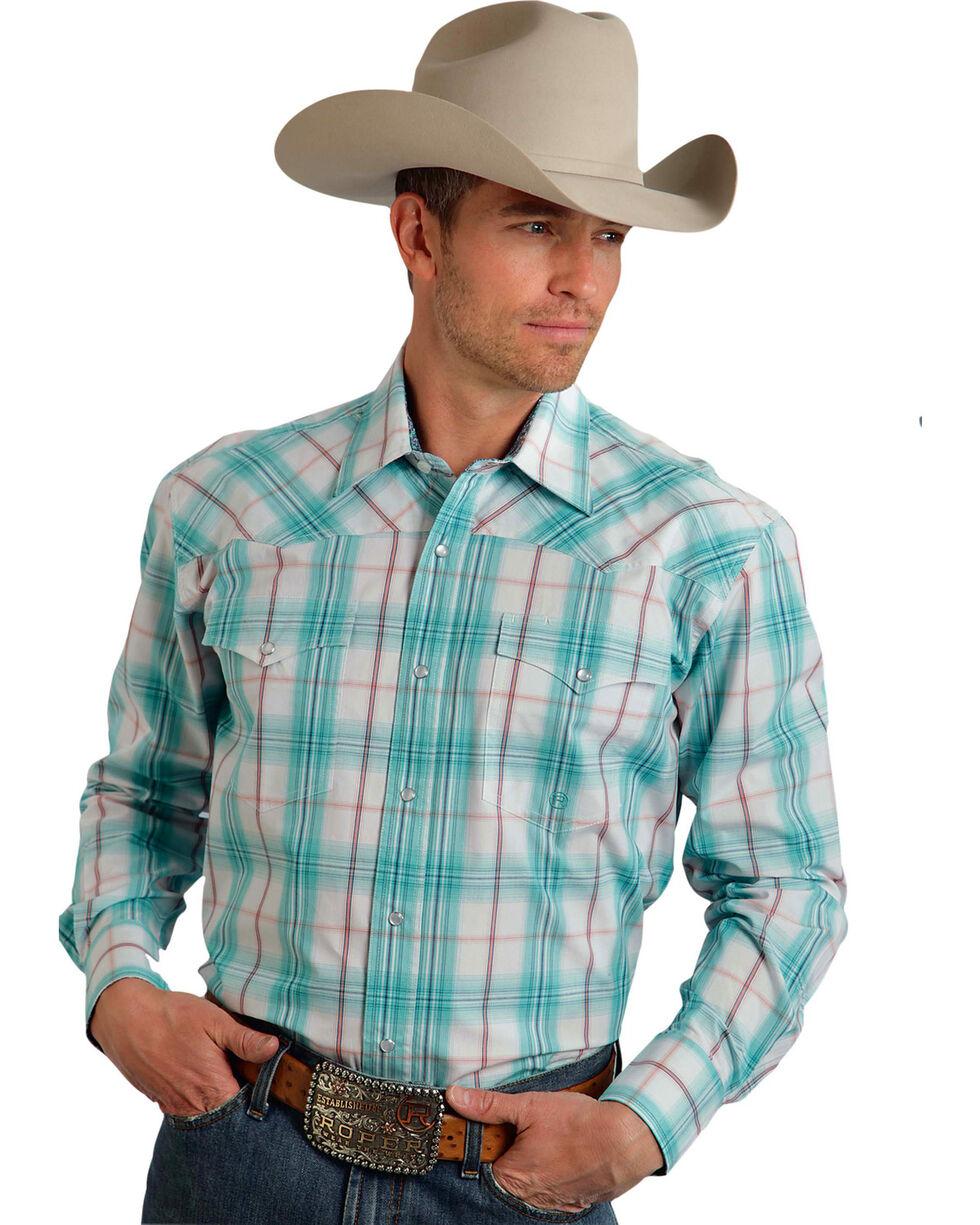 Roper Men's Amarillo Collection Aqua Plaid Snap Long Sleeve Shirt, , hi-res