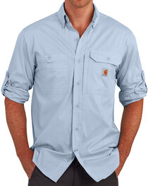 Carhartt Men's Light Blue Force Ridgefield Solid Long-Sleeve Shirt - Big and Tall , , hi-res