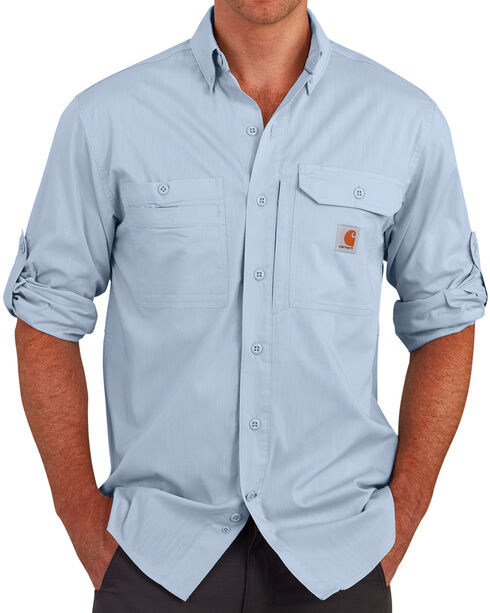 Carhartt Men's Light Blue Force Ridgefield Solid Long-Sleeve Shirt - Big and Tall , Light Blue, hi-res