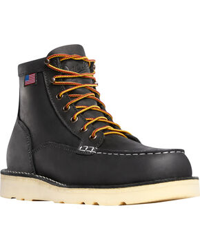 "Danner Men's Bull Run Black 6"" Lace Up EH Work Boots - Moc Toe, Black, hi-res"