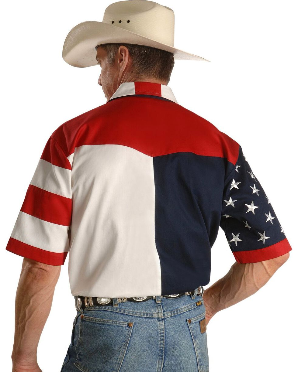 Scully Men's Rangewear USA Flag Western Shirt, Multi, hi-res