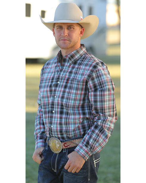 Cinch Men's Multi Modern Fit Basic Plain Plaid Long Sleeve Shirt , Multi, hi-res