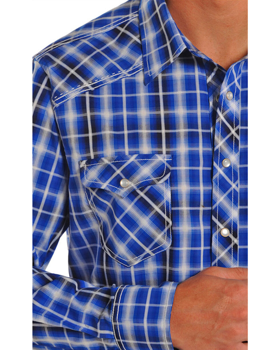 Rock & Cowboy Men's Men's Plaid Long Sleeve Western Shirt, Blue, hi-res