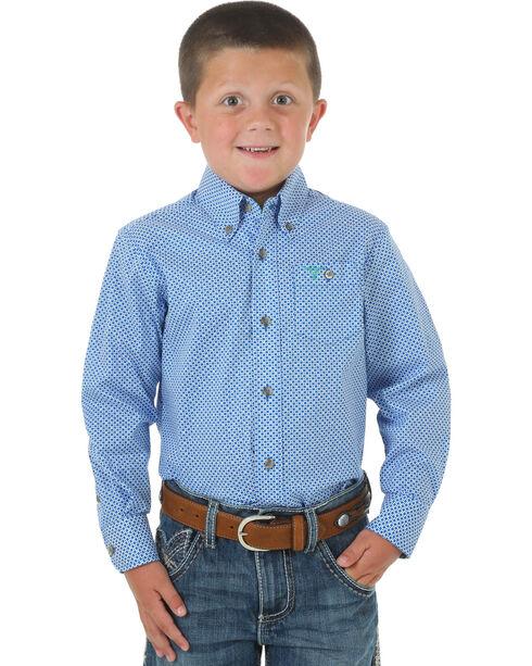Wrangler Boys' Patterned Long Sleeve Shirt, Blue, hi-res