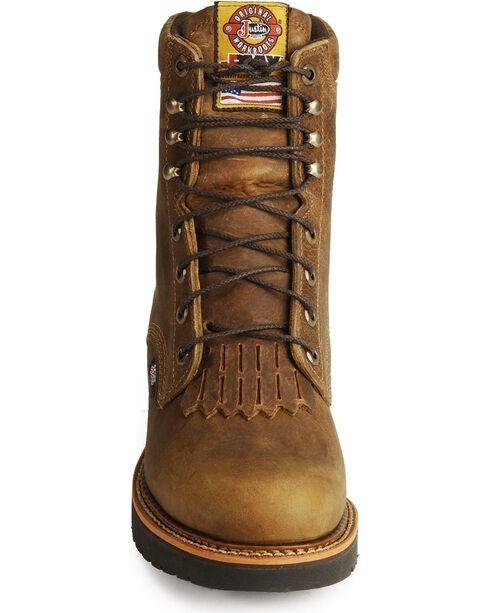 """Justin Men's Rugged 8"""" Steel Toe Lace-Up Work Boots, Tan, hi-res"""