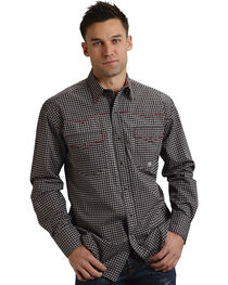 Roper Men's Printed Long Sleeve Western Shirt, Black, hi-res
