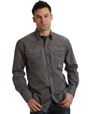 Roper Men's Printed Long Sleeve Western Shirt, Black, hi-res