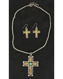 Blazin Roxx Two-Tone Cross Necklace & Earrings Set, , hi-res