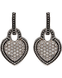 Montana Silversmiths Vintage Quilted Heart Drop Earrings, , hi-res
