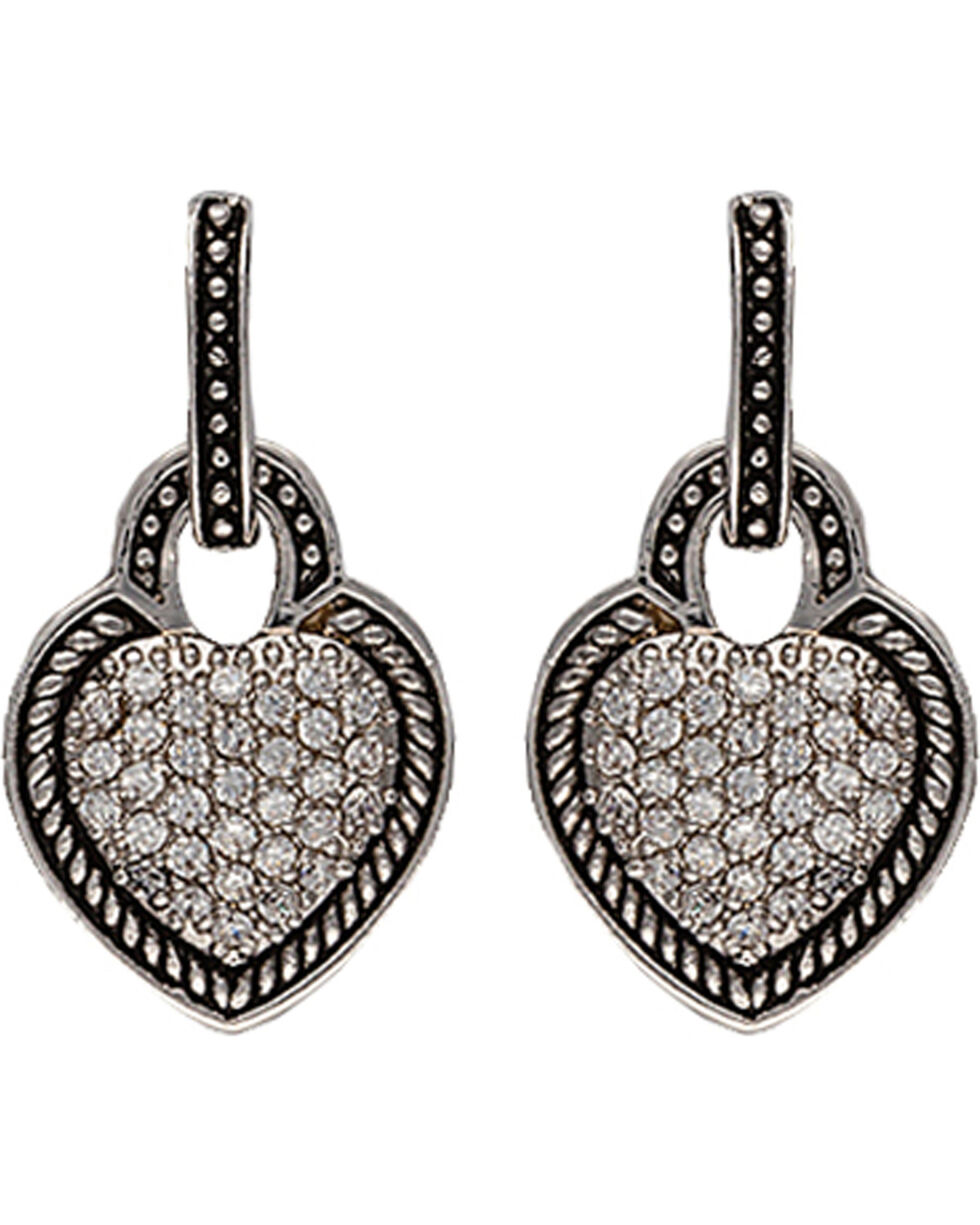 Montana Silversmiths Vintage Quilted Heart Drop Earrings, Silver, hi-res
