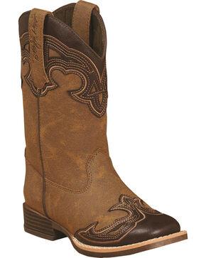 Blazin Roxx Girls' Samantha Zipper Cowgirl Boots - Square Toe, Brown, hi-res