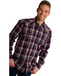 Roper Men's Amarillo Collection Purple Plaid Snap Long Sleeve Shirt, , hi-res