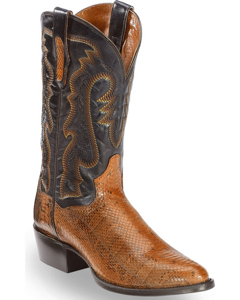 Dan Post Men's Two Tone Water Snake Cowboy Boots - Round Toe, Cognac, hi-res