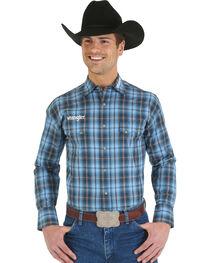 Wrangler Blue and Tan Plaid Logo Long Sleeve Shirt, , hi-res
