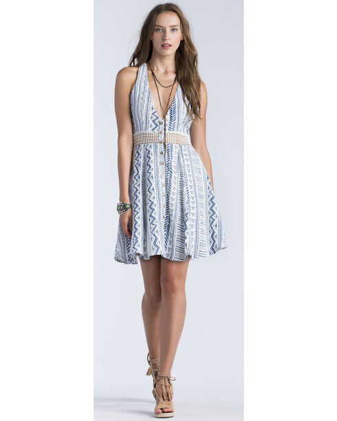 Miss Me Women's White Geo Print Racerback Dress, White, hi-res