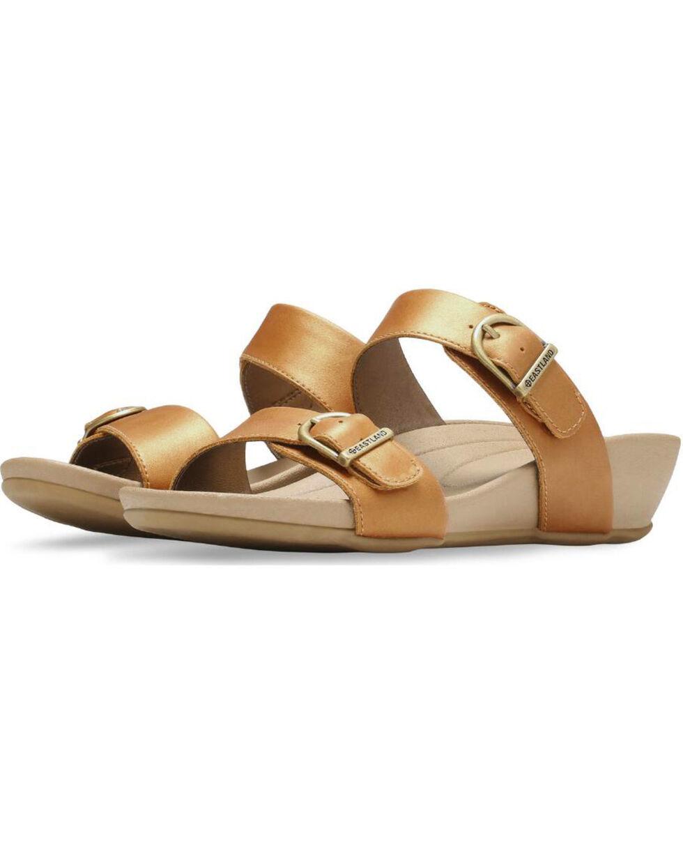Eastland Women's Tan Cape Ann Buckle Slide Sandals , Tan, hi-res