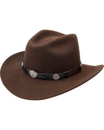 Jack Daniel's Men's Brown Crushable Wool Scalloped Concho Band Hat, , hi-res