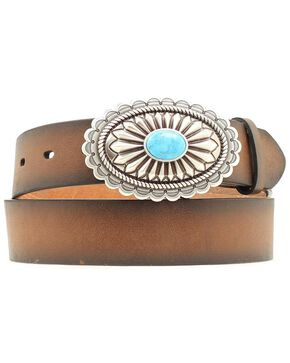 Ariat Women's Silver and Turquoise Belt, Brown, hi-res