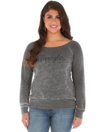 Wrangler Women's Acid Wash Fleece Logo Top, , hi-res