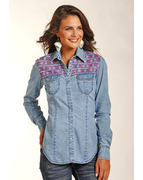 Rock & Roll Cowgirl Women's Indigo Lightweight Denim Shirt , , hi-res