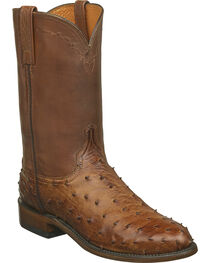 Lucchese Men's Zane Full Quill Ostrich Roper Boots - Round Toe, , hi-res