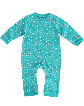 Wrangler Infant Girls' Teal Arrow Print Onesie , Teal, hi-res