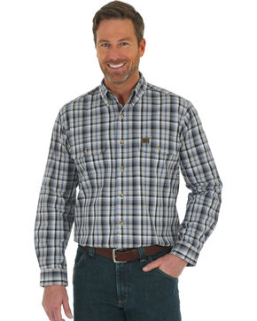 Wrangler Men's Grey Riggs Foreman Work Shirt - Big, Grey, hi-res