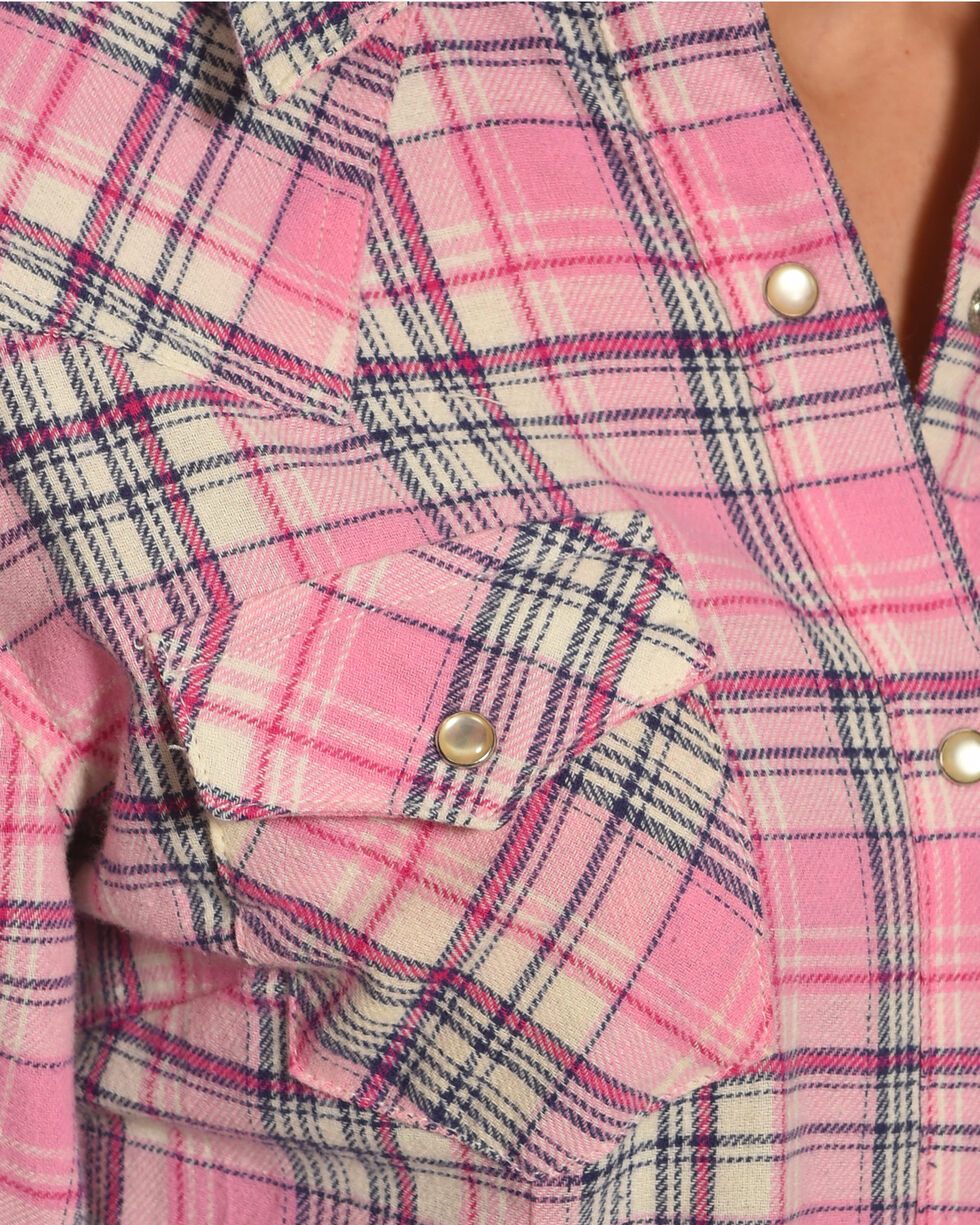 Wrangler Women's Pink Flannel Plaid Shirt , , hi-res