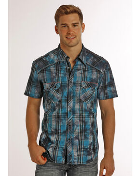 Rock & Roll Cowboy Men's Distressed Plaid Short Sleeve Shirt, Black, hi-res