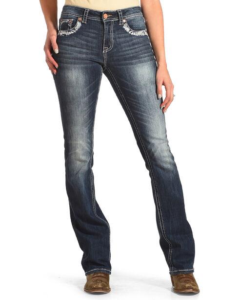 Grace in LA Women's Blue Faith Easy Fit Jeans - Boot Cut , Blue, hi-res