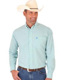 Wrangler George Strait Green Print Poplin Western Shirt , , hi-res