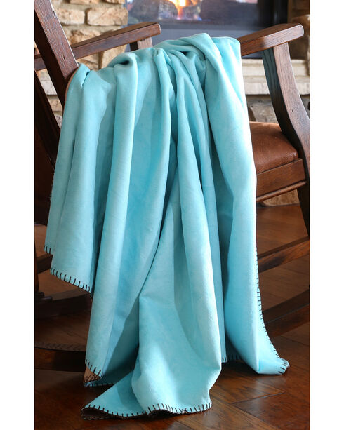 Carstens Turquoise Suede Throw Blanket, Turquoise, hi-res