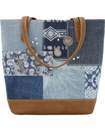 Bandana by American West Women's Indigo Zip Top Bucket Tote, , hi-res