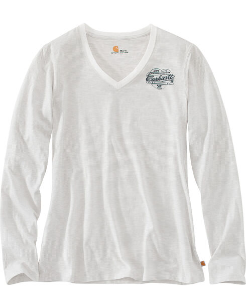 Carhartt Women's Cream Wellton Graphic Stripe Logo T-Shirt , Cream, hi-res